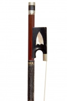 A Good German Nickel-Mounted Violin Bow, school of Knopf